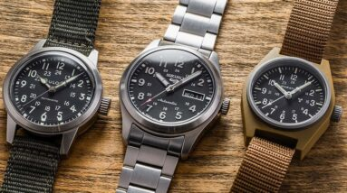 Entry-Level Field Watches Comparison - Bulova VWI Hack, Seiko SRPG27, & Marathon GPM