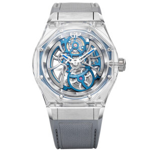 girard perregaux and bucherer team up for a new blue edition of the laureato absolute light watch