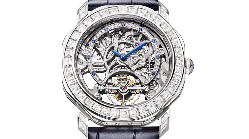 bulgaris latest limited edition watch is a tourbillon set with hundreds of diamonds